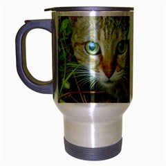 Hidden Domestic Cat With Alert Expression Travel Mug (silver Gray)