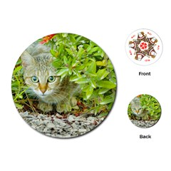 Hidden Domestic Cat With Alert Expression Playing Cards (round)