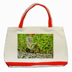 Hidden Domestic Cat With Alert Expression Classic Tote Bag (red)
