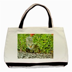 Hidden Domestic Cat With Alert Expression Basic Tote Bag (two Sides)