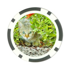 Hidden Domestic Cat With Alert Expression Poker Chip Card Guard (10 Pack)