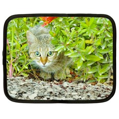 Hidden Domestic Cat With Alert Expression Netbook Case (xl)