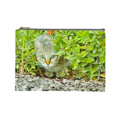 Hidden Domestic Cat With Alert Expression Cosmetic Bag (large)