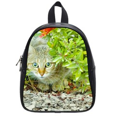 Hidden Domestic Cat With Alert Expression School Bag (small)