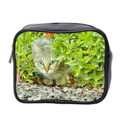 Hidden Domestic Cat With Alert Expression Mini Toiletries Bag 2 Side