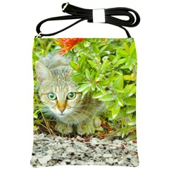 Hidden Domestic Cat With Alert Expression Shoulder Sling Bags