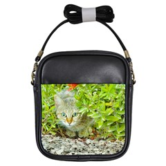 Hidden Domestic Cat With Alert Expression Girls Sling Bags