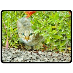 Hidden Domestic Cat With Alert Expression Fleece Blanket (large)