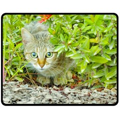 Hidden Domestic Cat With Alert Expression Fleece Blanket (medium)
