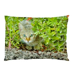 Hidden Domestic Cat With Alert Expression Pillow Case (two Sides)