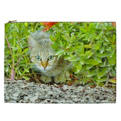 Hidden Domestic Cat With Alert Expression Cosmetic Bag (xxl)