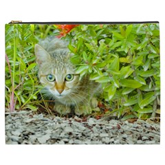 Hidden Domestic Cat With Alert Expression Cosmetic Bag (xxxl)