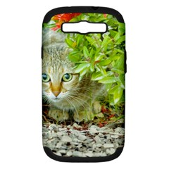 Hidden Domestic Cat With Alert Expression Samsung Galaxy S Iii Hardshell Case (pc+silicone)