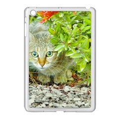 Hidden Domestic Cat With Alert Expression Apple Ipad Mini Case (white)