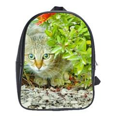 Hidden Domestic Cat With Alert Expression School Bag (xl)