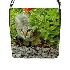 Hidden Domestic Cat With Alert Expression Flap Messenger Bag (l)