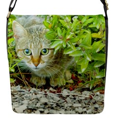 Hidden Domestic Cat With Alert Expression Flap Messenger Bag (s)