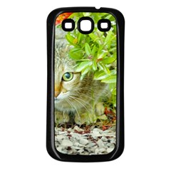 Hidden Domestic Cat With Alert Expression Samsung Galaxy S3 Back Case (black)