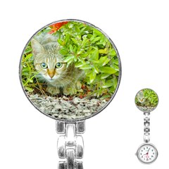 Hidden Domestic Cat With Alert Expression Stainless Steel Nurses Watch