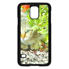 Hidden Domestic Cat With Alert Expression Samsung Galaxy S5 Case (black)