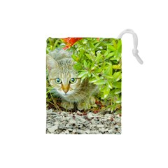 Hidden Domestic Cat With Alert Expression Drawstring Pouches (small)