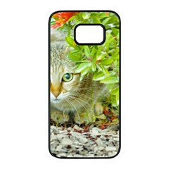 Hidden Domestic Cat With Alert Expression Samsung Galaxy S7 Edge Black Seamless Case