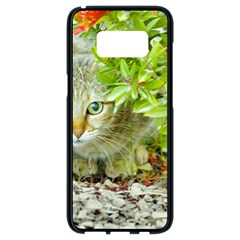 Hidden Domestic Cat With Alert Expression Samsung Galaxy S8 Black Seamless Case