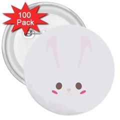 Rabbit Cute Animal White 3  Buttons (100 Pack)