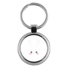 Rabbit Cute Animal White Key Chains (round)