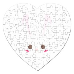 Rabbit Cute Animal White Jigsaw Puzzle (heart)