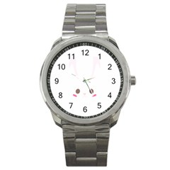 Rabbit Cute Animal White Sport Metal Watch