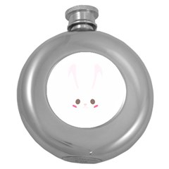 Rabbit Cute Animal White Round Hip Flask (5 Oz)