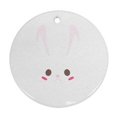Rabbit Cute Animal White Round Ornament (two Sides)