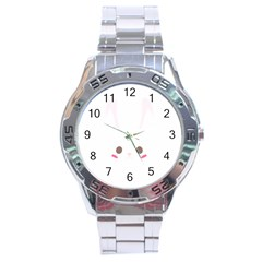 Rabbit Cute Animal White Stainless Steel Analogue Watch