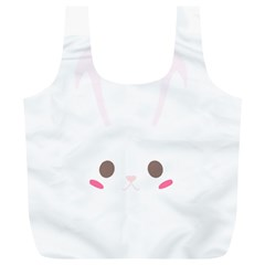 Rabbit Cute Animal White Full Print Recycle Bags (l)