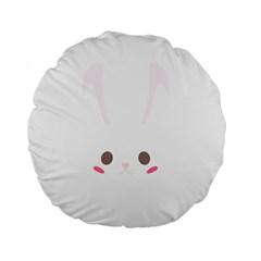 Rabbit Cute Animal White Standard 15  Premium Flano Round Cushions