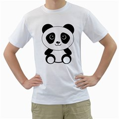 Bear Panda Bear Panda Animals Men s T Shirt (white) (two Sided)