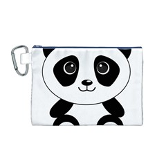 Bear Panda Bear Panda Animals Canvas Cosmetic Bag (m)