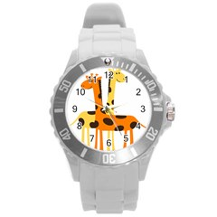 Giraffe Africa Safari Wildlife Round Plastic Sport Watch (l)