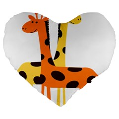 Giraffe Africa Safari Wildlife Large 19  Premium Heart Shape Cushions