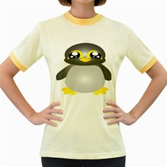Cute Penguin Animal Women s Fitted Ringer T Shirts