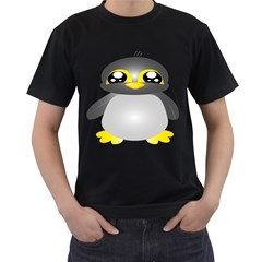 Cute Penguin Animal Men s T Shirt (black) (two Sided)