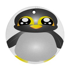 Cute Penguin Animal Round Ornament (two Sides)