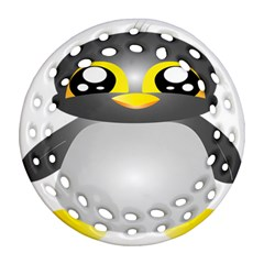 Cute Penguin Animal Round Filigree Ornament (two Sides)