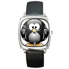 Penguin Birds Aquatic Flightless Square Metal Watch