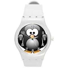Penguin Birds Aquatic Flightless Round Plastic Sport Watch (m)
