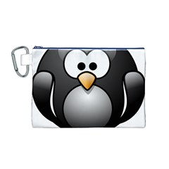 Penguin Birds Aquatic Flightless Canvas Cosmetic Bag (m)