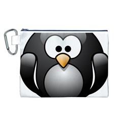 Penguin Birds Aquatic Flightless Canvas Cosmetic Bag (l)