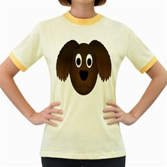 Dog Pup Animal Canine Brown Pet Women s Fitted Ringer T Shirts
