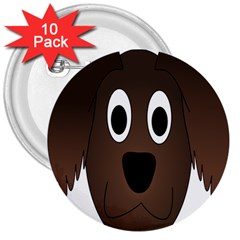 Dog Pup Animal Canine Brown Pet 3  Buttons (10 Pack)